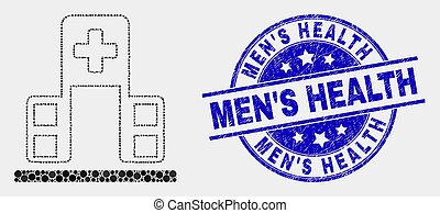 Vector Dotted Hospital Building Icon and Distress Men'S Health Seal