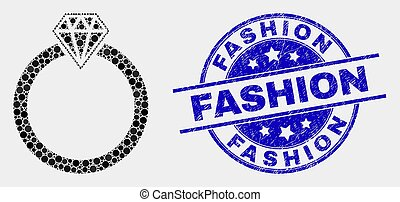Vector Dotted Jewelry Ring Icon and Scratched Fashion Stamp