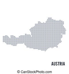 Vector dotted map of Austria isolated on white background .