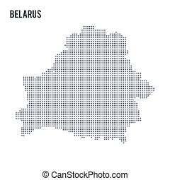 Vector dotted map of Belarus isolated on white background .