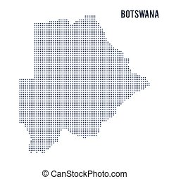 Vector dotted map of Botswana isolated on white background .