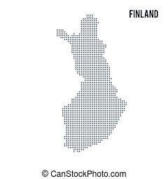 Vector dotted map of Finland isolated on white background .