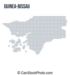 Vector dotted map of Guinea-Bissau isolated on white background .