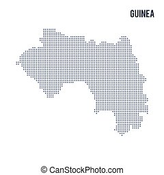Vector dotted map of Guinea isolated on white background .