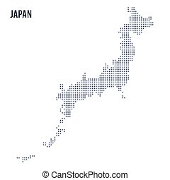 Vector dotted map of Japan isolated on white background . Travel vector illustration