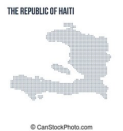 Vector dotted map of The Republic of Haiti isolated on white background .
