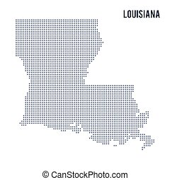 Vector dotted map State of Louisiana isolated on white background . Travel vector illustration