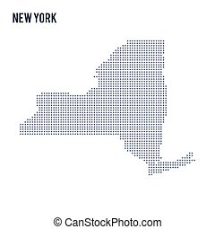 Vector dotted map State of New York isolated on white background .