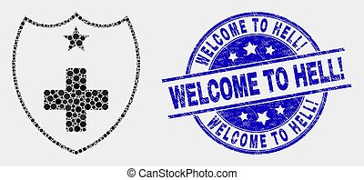 Vector Dotted Medical Shield Icon and Grunge Welcome to Hell! Stamp Seal