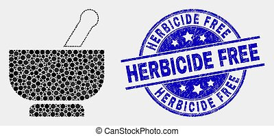 Vector Dotted Mortar Icon and Scratched Herbicide Free Stamp Seal