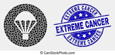 Vector Dotted Parachute Icon and Grunge Extreme Cancer Watermark