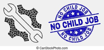 Vector Dotted Repair Tools Icon and Scratched No Child Job Seal