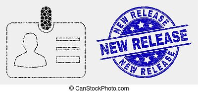 Vector Dotted User Id Badge Icon and Grunge New Release Stamp