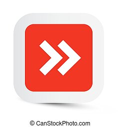 Vector Double Arrow in Red Paper Rounded Corners Square