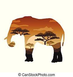 Vector Double exposure. Bear, elephant, camel and Leopard, wildlife concept