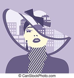 Vector double exposure illustration. Woman with city in her...