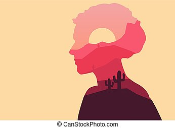 Vector double exposure illustration. Woman silhouette nature...
