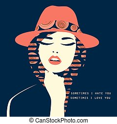Vector double exposure illustration. Woman with red hat -...