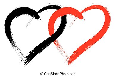 Vector double heart shape with brush painting isolated on white background