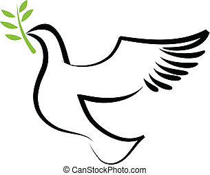 A free flying vector white dove with olive branch