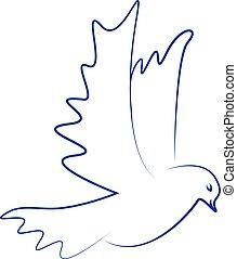 Vector dove icon. Flying dove