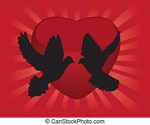 vector doves and heart