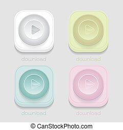 vector download icon, White, blue, green, pink on gray background