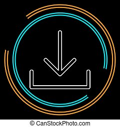 Vector Download symbol - app down load button. Thin line ...