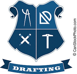 Vector drafting/architectural shield emblem with banner.
