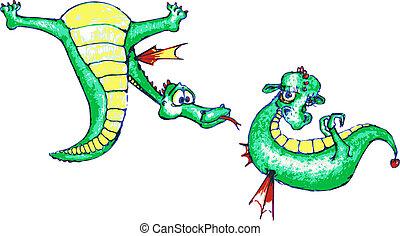 Vector: dragon-boy courting a cute dragon-girl