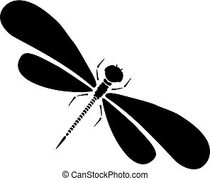 Vector dragon-fly silhouette. Cartoon graphic illustration...