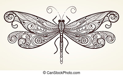 vector dragonfly with unique pattern - vector monochrome ...