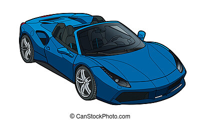 Vector draw of a flat sport car with black lines.