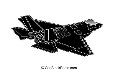 Vector draw of modern American jet fighter.