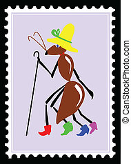 vector drawing ant on postage stamps