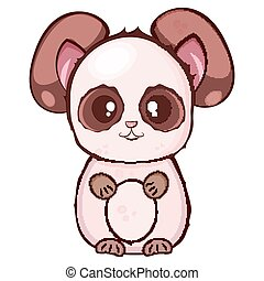 Vector drawing. brown panda with a beige muzzle and belly with a pink body on a white background.