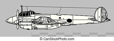 vector, drawing., contorno, pe-2., petlyakov