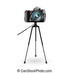 photo camera - Vector drawing digital photo camera on white...