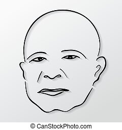 Vector drawing faces old men with eyes closed