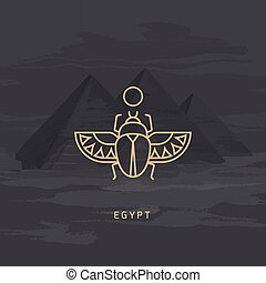 Vector drawing icon of Egyptian scarab beetle, personifying the god Khepri.