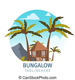Vector drawing image the bungalow located island. Banner...