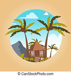 Vector drawing image the bungalow located island. Vector...