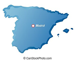 Vector drawing map of Spain and Madrid