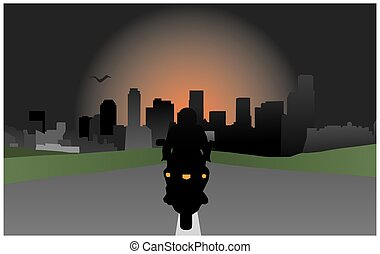 motorcyclist on a background of the city