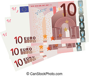 vector drawing of a 3x 10 Euro bills isolated