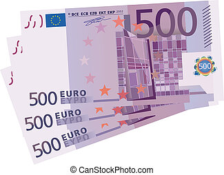 Vector drawing of a 3x 500 Euro bil