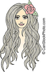Vector drawing of a beautiful girl