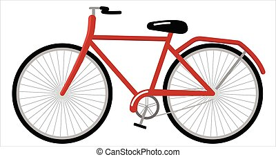 Vector drawing of a bicycle on a white background. A stand-alone subject. the image is made in a flat style.
