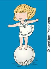 Vector drawing of a little girl standing on a big ball