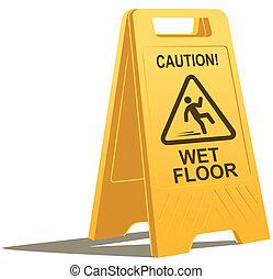 wet floor caution sign - vector drawing of a plastic wet ...